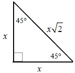 45-45-90 right triangle formula