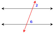 corresponding angles top right