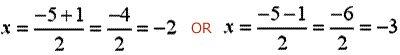 Solve equations using quadratic formula